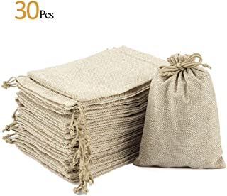 """ANPHSIN 30 Pack Burlap Bag with Drawstring - 7.1"""" x 4.9"""" Gift Bag Jewelry Pouches Sacks for Wedding Favors, Party, DIY Craft and Christmas"""