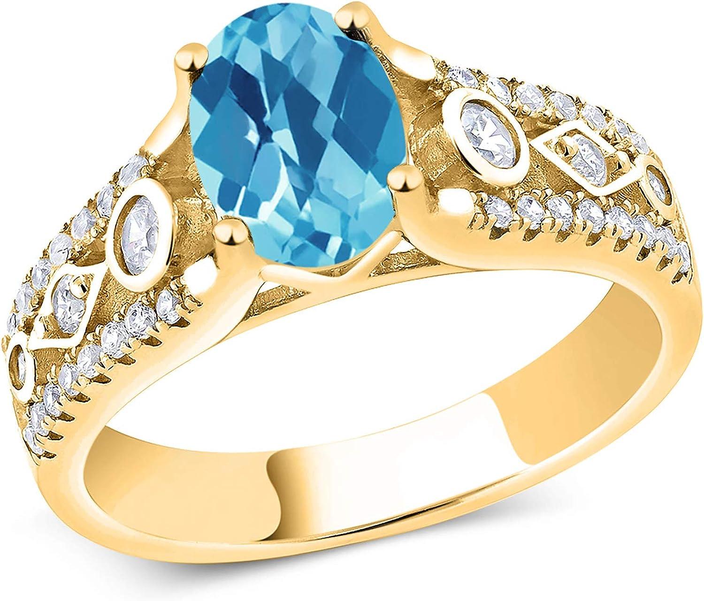 Gem Recommendation Stone shop King 1.86 Ct Oval Topaz Checkerboard Blue Swiss Ye 18K