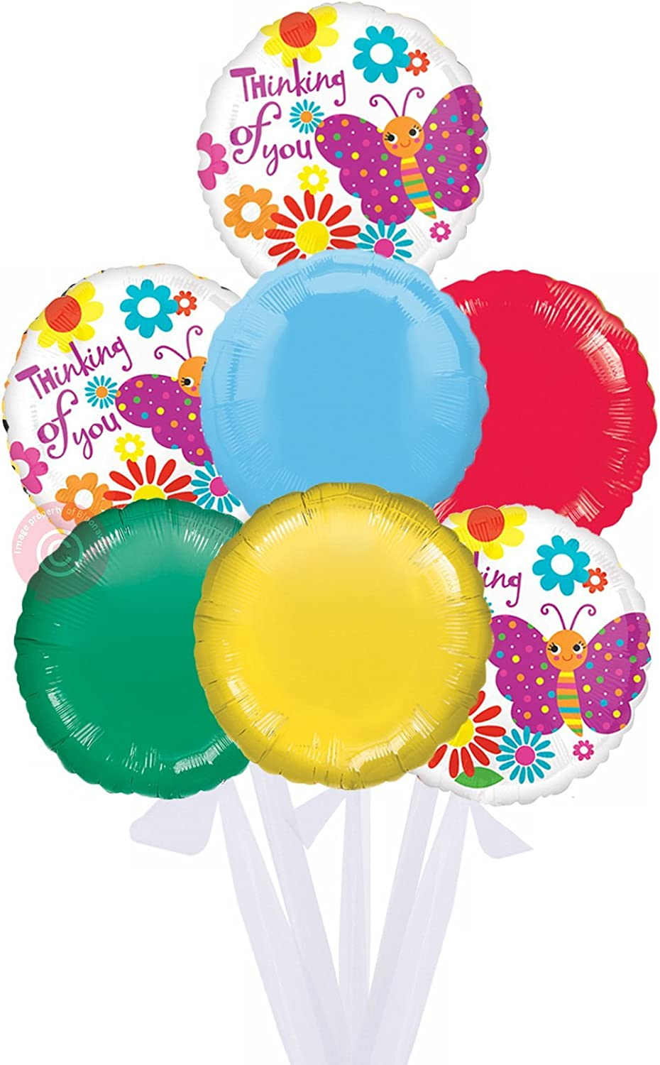 Cute Butterfly Thinking of You  Inflated Helium Balloon Delivered in a Box  Bigger Bouquet  7 Balloons  Bloonaway