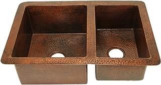 "Soluna Farmhouse Copper Sink - 36"" Hammered Kitchen Sink - Pure Double Well Undermount 60/40 Copper Style Sink"