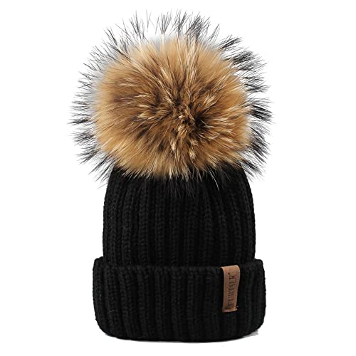 FURTALK Winter Knit Hat Real Raccoon Fur Pom Pom Womens Girls Warm Knit Beanie  Hat cfba9ab860a