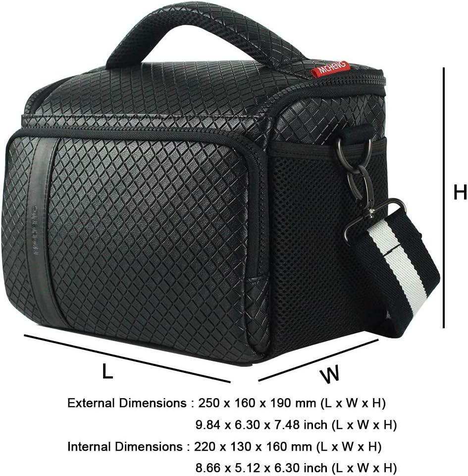 MCHENG Aktions-Set /Étui en cuir synth/étique pour appareil photo reflex num/érique compact Noir avec int/érieur gris