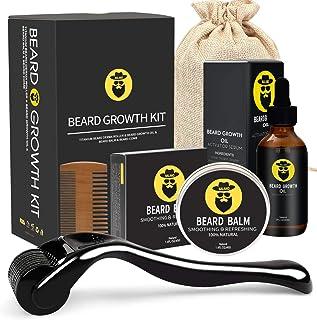 Beard Growth Kit - Derma Roller for Beard Growth, Beard Growth Serum Oil, Beard Balm and Comb, Stimulate Beard and Hair Gr...