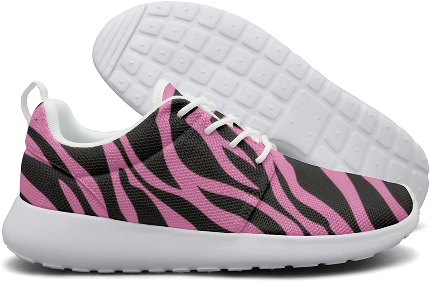 ERSER Pink Rainbow Zebra Stripe Cushioned Running shoes Women
