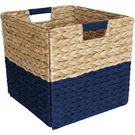 Box and Beyond Panier de Rangement en Jacinthe d'eau et Papier - Cube - Pliable - Poignées intégrées - Naturel/Bleu - 31x31x31cm