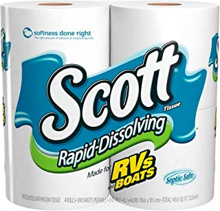 Scott Rapid Dissolve Bath Tissue Roll, 4 rolls, Pack of 12 (48 rolls)