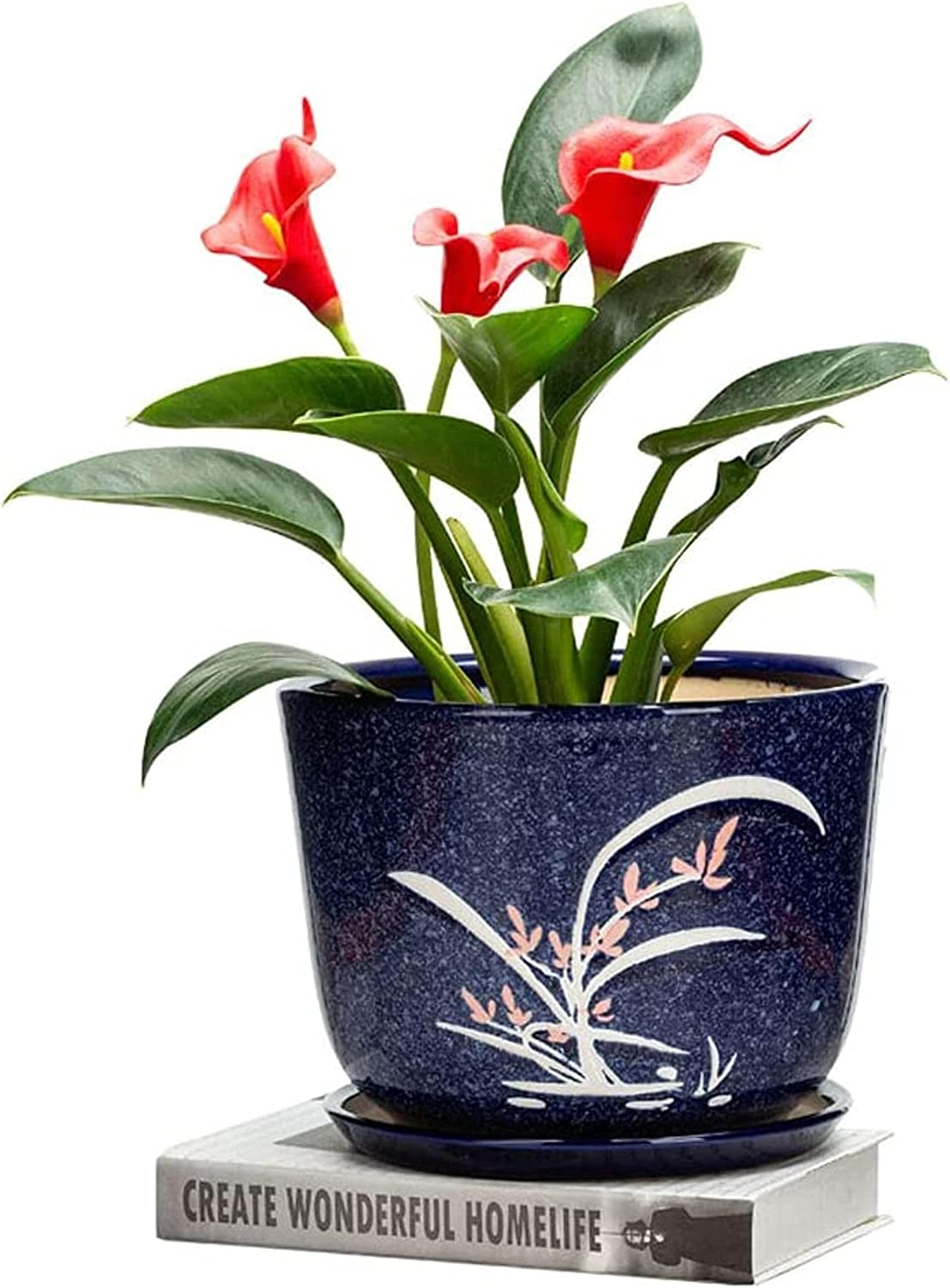 Boston Mall YINGJIA Outdoor Mail order Handmade Decoration Ceramic Flowe Pattern Orchid