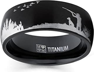 Metal Masters Co. Men`s Black Titanium Ring Wedding Band with Laser Etched Bird Duck Hunting Outdoor Ring, Comfort Fit 8mm