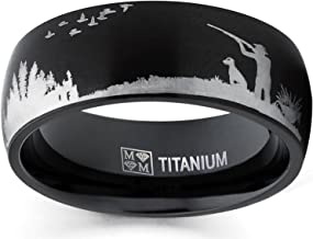 Metal Masters Co. Men's Black Titanium Ring Wedding Band with Laser Etched Bird Duck Hunting Outdoor Ring, Comfort Fit 8mm