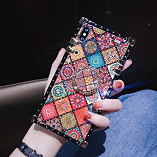 Retro Square Blue Ray Phone Case for iPhone Xs Max with Holder Ring Indian Hippie Bohemian Psychedelic Peacock Mandala Sho...