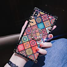 Retro Square Blue Ray Phone Case for iPhone 7 Plus 8 Plus with Holder Ring Indian Hippie Bohemian Psychedelic Peacock Mandala Shockproof Cover (Pattern2, iPhone 7 Plus/8 Plus 5.5'')