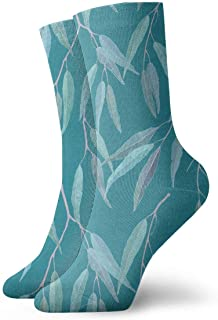 Luxury Calcetines de Deporte Eucalyptus Leaves Pattern Unisex Socks, All-Season Lightweight Ankle Socks Crew Socks