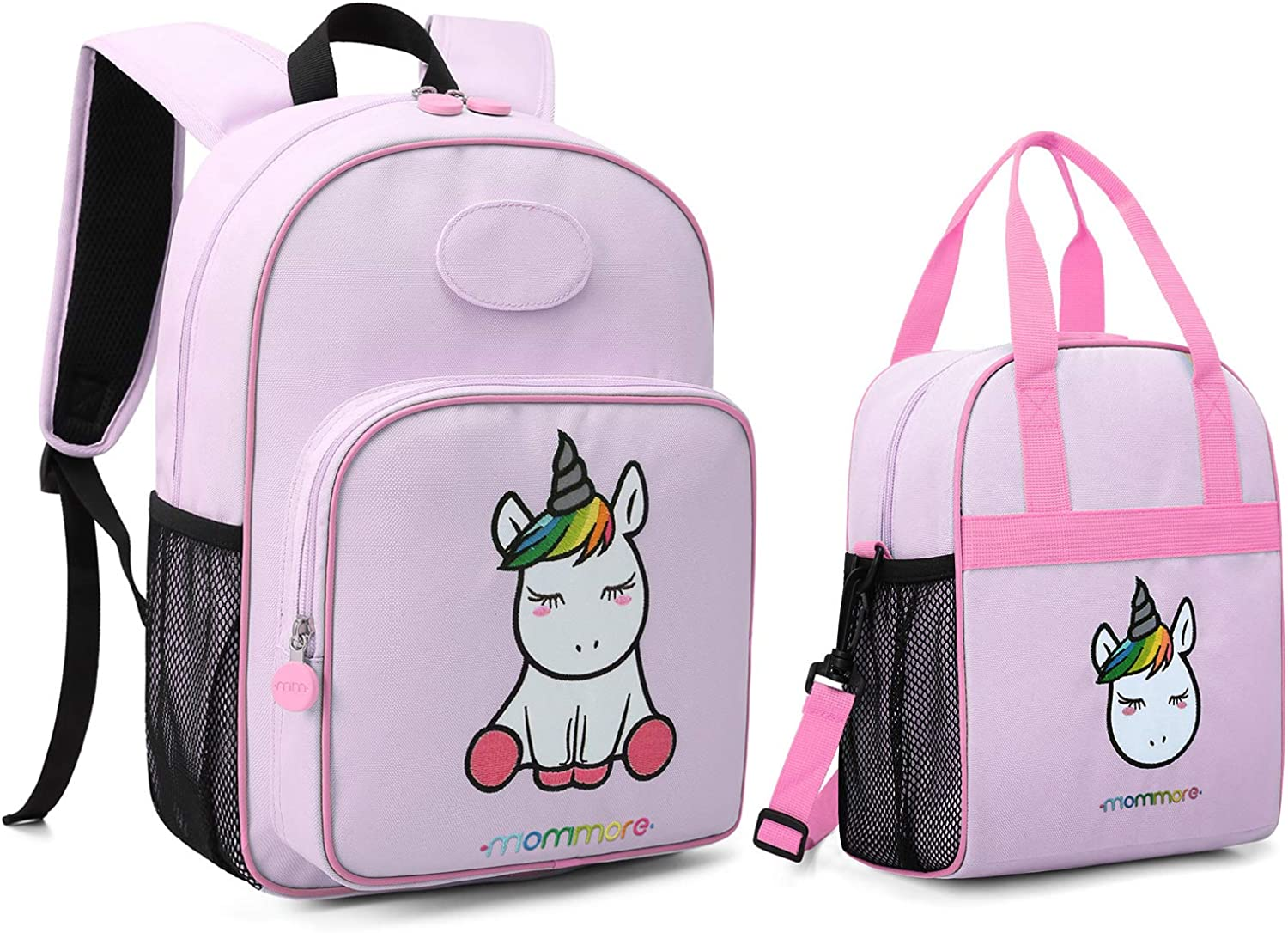 Mommore Cute Unicorn Kids Backpack with Insulated Lunch Bag for Boys Girls,Purple