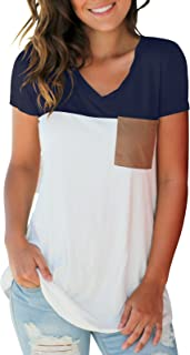 SAMPEEL Women's Basic V Neck T Shirt with Suede Pocket S-XXL