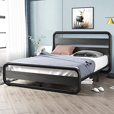 SHA CERLIN Black Queen Size Bed Frame with Wooden Headboard ,Footboard, Heavy Duty Oval-Shaped Platform Bed with Under-Bed St