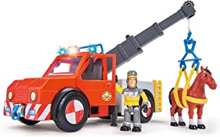 SIMBA 109258280 - Brandweerman Sam Phoenix reddingsvoertuig met figuur en paard, Meerkleurig