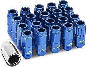 Open End Design 16-Piece M12 x 1.5 Aluminum Alloy Wheel Lug Nuts + 4 x Lock Nut + 1 x Lock Nut Key (Blue)