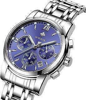 腕時計 メンズ腕時計 ファッション ビジネス カジュアル 多機能 クロノグラフ 防水 ルミナス夜光 日付表示 ステンレス鋼 アナログ クォーツ時計 (ブルー)