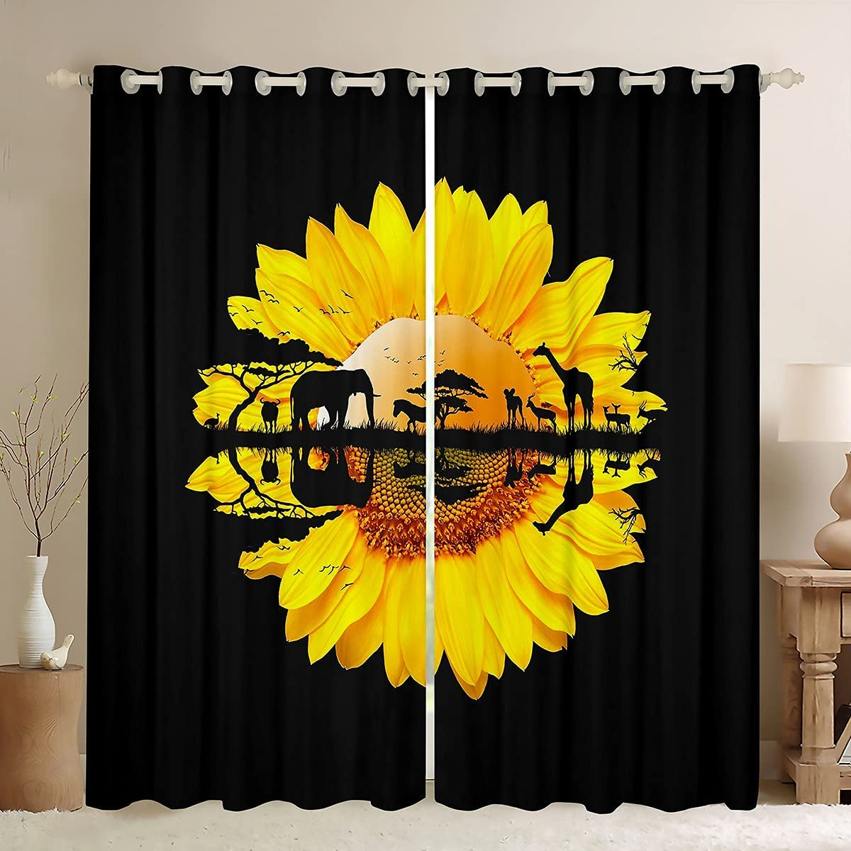 Sunflower Curtains Elephant Giraffe Animal Silhouett Deer Sales of SALE Ranking TOP16 items from new works Cattle