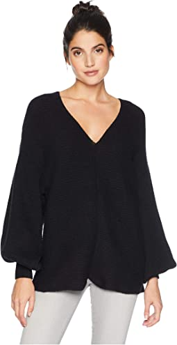 V-Neck Bubble Sleeve Sweater