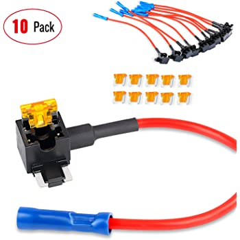 Nilight 10 Pack 12V Car Add-a-circuit Fuse TAP Adapter with 5 Amp Low Profile Mini Blade Fuse Set for Cars Trucks Boats,2 Years Warranty