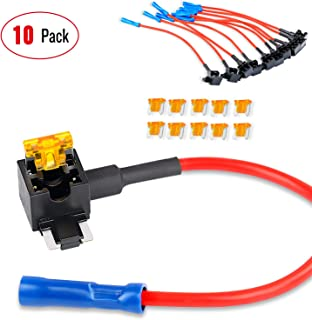Nilight 50038R 10Pack Holder 10 Pack 12V Add-a-Circuit TAP Adapter with 5 Amp Low Profile Mini Blade Fuse Set for Cars Trucks Boats,2 Years Warranty