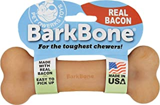 Pet Qwerks Real Bacon Infused BarkBone - Durable Toys for Aggressive Chewers, Tough Indestructible Extreme Power Chewer Bo...