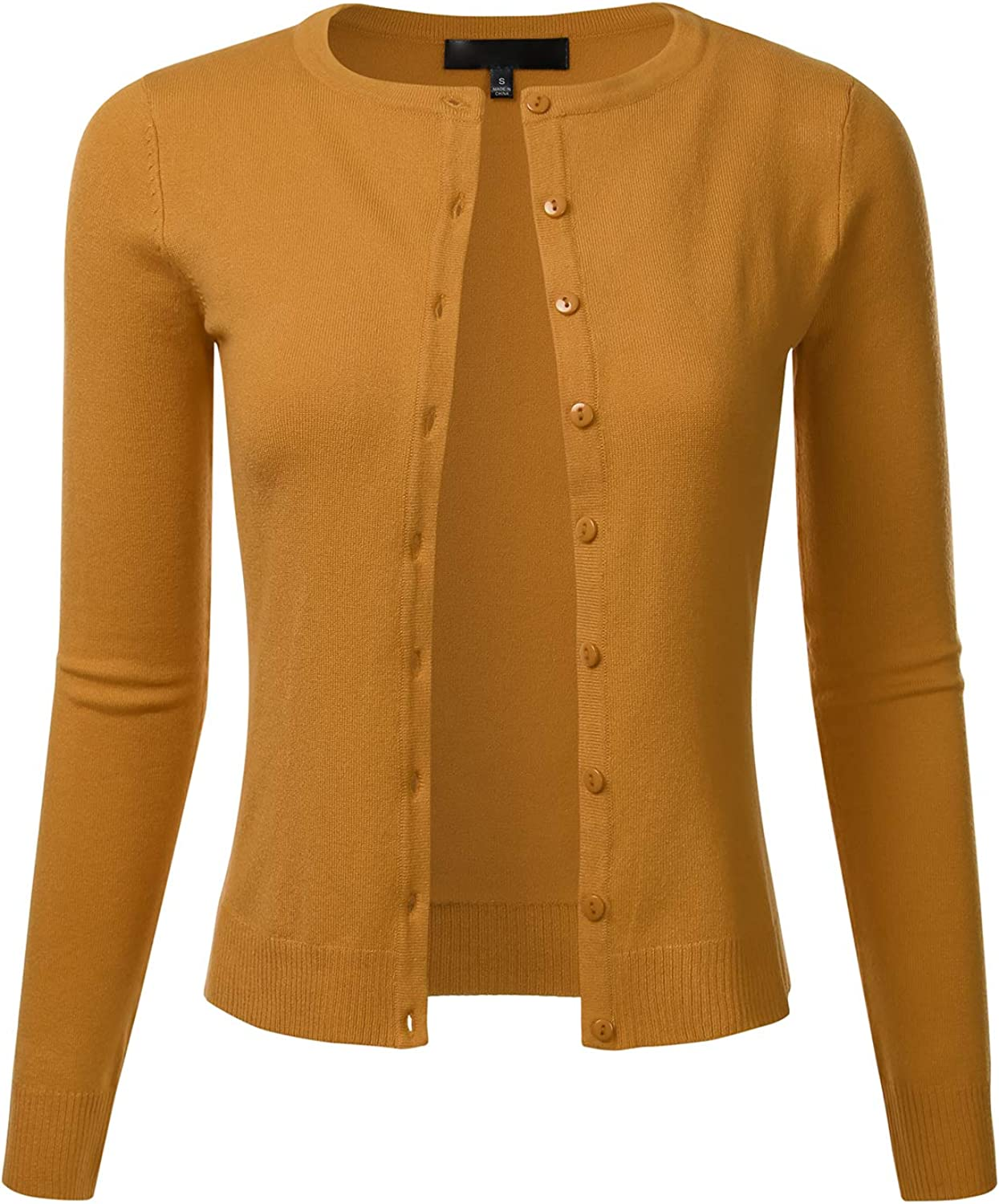FLORIA Women's Slim Fit Long Sleeve Button Down Crew Neck Knit Cardigan Sweater