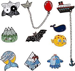 10 PCS Enamel Lapel Mountain River Scenery Cute Fish Pin Set Decoration Clothing Accessory Gift