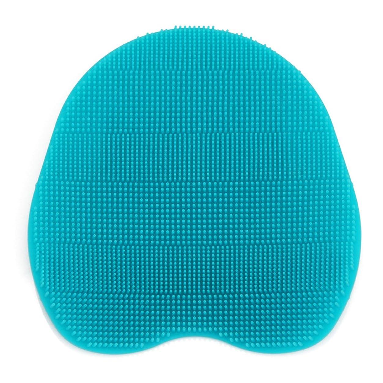 ステレオタイプピカリング慢なKapmore シリコンブラシ ウォッシュ ボディブラシ マッサージ シャワー 肌にやさしい 体洗い 風呂 フットケア 4色選択可能 衛生 角質取り 毛穴清潔 泡立ち 多機能 (シアン)