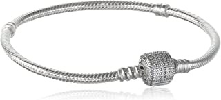 Jewlery - Moments Sparkling Pavé Clasp Snake Chain Charm Bracelet for Women in Sterling Silver with Clear Cubic Zirconia