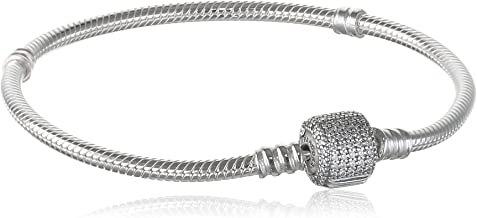 PANDORA Jewlery - Moments Sparkling Pavé Clasp Snake Chain Charm Bracelet for Women in Sterling Silver with Clear Cubic Zirconia