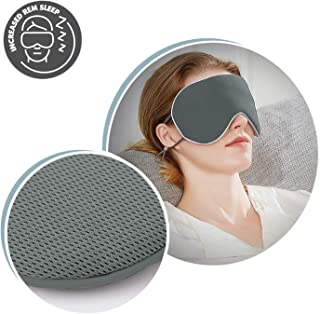 Adjustable Silk Sleep Eye Mask & Blindfold with Adjustable Strap, Cooling Technology for Relaxing Sleep, Ultra Lightweight Soft Eye Cover Eyeshade for Night Sleeping, Travel, Nap (1-Pack)