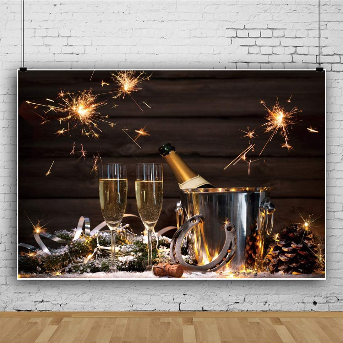OERJU 15x10ft Christmas Backdrop Little Fireworks Champagne Pine Cone Photography Background Happy New Year 2021 Family Portrait Photo Props Winter Holiday Merry Xmas Eve Blog Shooting Props