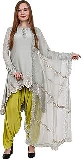 Raoshmi Kapur Designs- Silver Light Grey Chanderi Silk Kurta with Silk hand work lime green Semi Patiyala Salwar & organza dupatta
