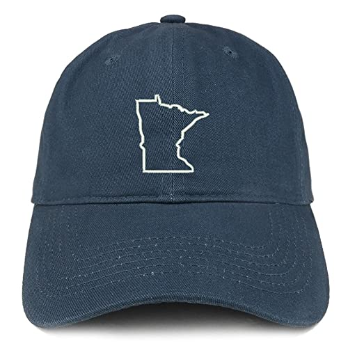 7e6384e68c6 Trendy Apparel Shop Minnesota State Outline Embroidered Soft Cotton Dad Hat