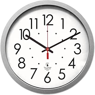 THE CHICAGO LIGHTHOUSE Contemporary Wall Clock with White Dial, 14-1/2-Inch, Silver