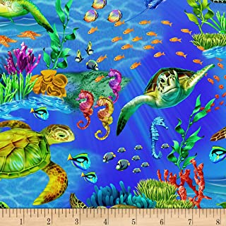 Timeless Treasures 0561335 Sea Life Seaturtles Ocean Fabric by the Yard