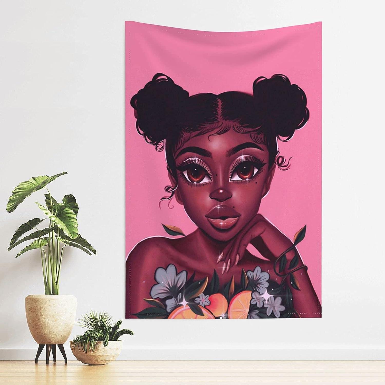 African American Woman Tapestry Black Girl Tapestry For Bedroom Wall Hanging Black Woman Tapestry College Girl Teen Girl Bedroom Decor Aesthetic African American Wall Art For Living Room