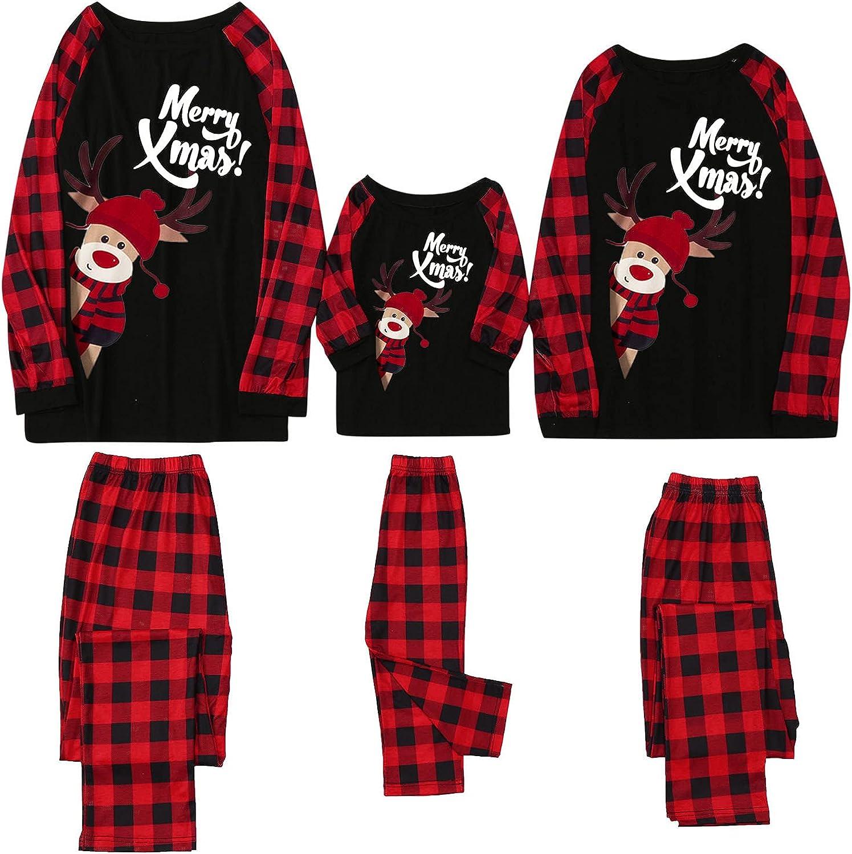 Huangse Christmas Pajamas Set Family Matching Christmas Pjs Set Holiday Pajamas for Unisex Reindeer Sleepwear Nightgown