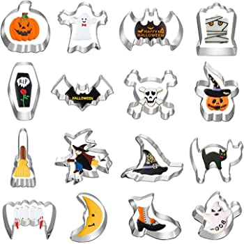 Halloween Cookie Cutters, Hibery 16 Pcs Holiday Cookie Cutters for Baking, Pumpkin Cookie Cutters, Bat, Ghost, Skull, Cat, Tombstone, Fangs, Broom, Witch & Witch Hat Cookie Cutters Shapes