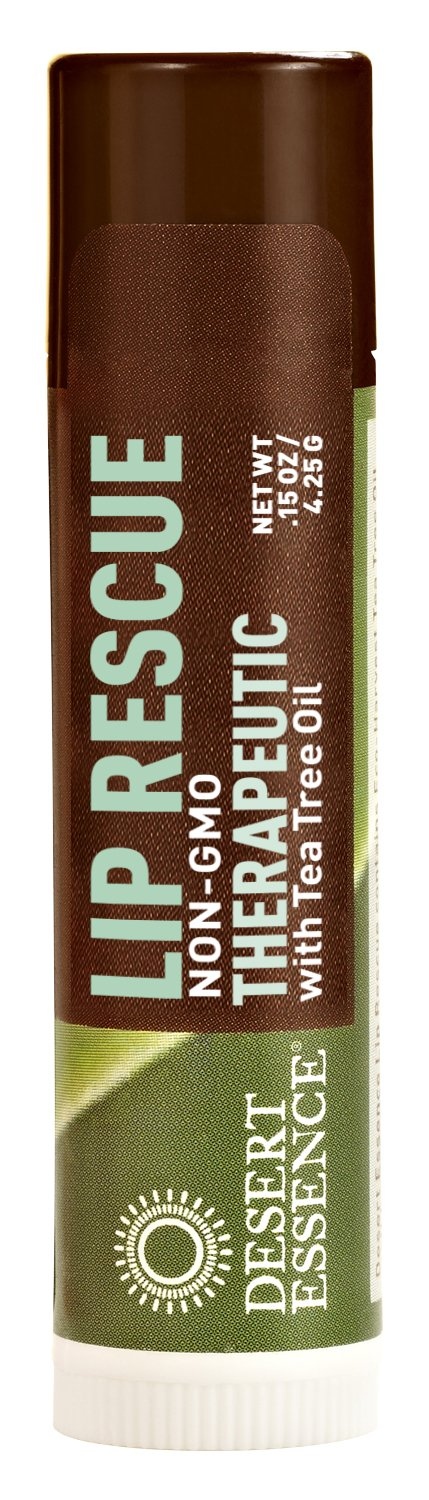 Desert Essence Lip Rescue Therapeutic with Tea Tree Oil - 0.15 Oz - Antiseptic Balm - For Cracked Lips, Cold Sores - For Softer, Smoother Lips - Moisturizer - Unscented - Vitamin E - Aloe Vera