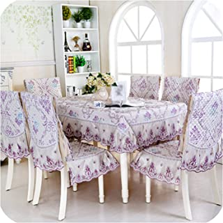 Chair Cushion Set Dining Lace Tablecloth RoundRectangle Chair Cover Home Table Decoration As,05,Round 180 cm