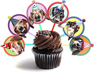 Dachshunds Cupcake Toppers, set of 6 different birthday dogs party decoration