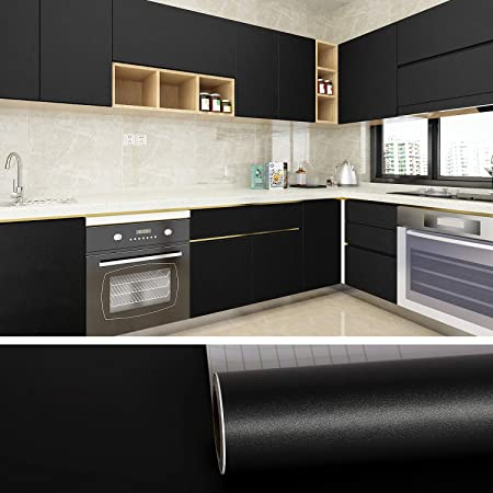 VEELIKE Matt Black Wallpaper Peel and Stick Removable Waterproof Wall Paper Self Adhesive Wall Sticker Vinyl Wrap Worktop Covering for Cupboards Cabinet Countertop Sticky Back Plastic 40cm x 600cm