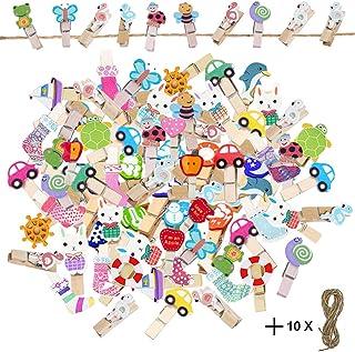 EQLEF Mini Pinzas Madera Colores, Lindo patrón de Dibujos Animados, Imagen para niños, pequeña Clavija con Hilo de Yute para exhibición de Fotos DIY (100 uds)