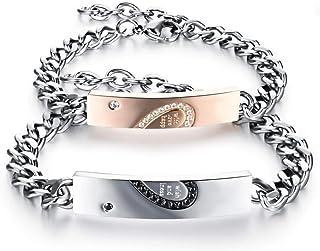 NW 1776 Men'S/Female Valentine'S Day Anniversary Birthday Bracelet, 2 Steel 220-230mm Long Love Puzzle Bracelets Are Not E...