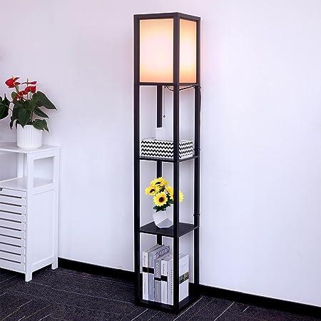 Aimosen Lampadaire en Bois , 1,6M avec 3 étagères Tablettes de Rangement,Lampe sur Pied pour Salon, Chambre à Coucher, Lampe de Chevet avec Abat-jour, Douille E27