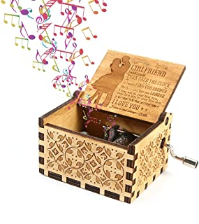 Womdee Music Box -You Are My Sunshine Theme To Girlfriend, Wooden Classic Music Box Crafts With Hand Crank, 18 Note Mechan...