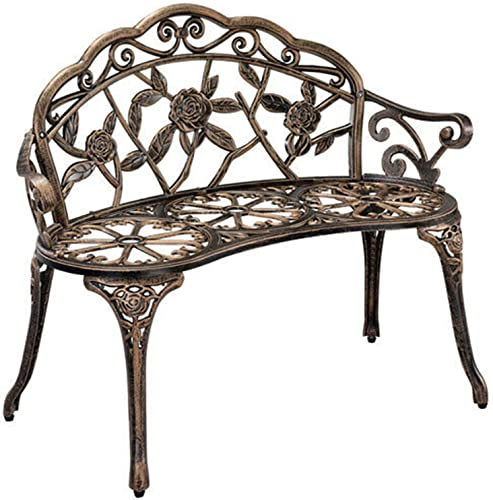 wholesale Giantex Outdoor Garden Bench Iron Patio Benches for popular Outdoors, Porch Bench Chair with Curved Legs Cast Aluminum high quality Rose Antique Style (Antique Rose) online sale